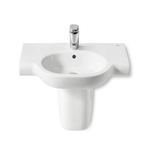 Roca Meridian-N Round Basin With Semi Pedestal - 700mm - 1 Tap Hole - White